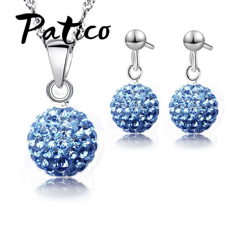 Austrian Pave Disco Ball Stud 925 Sterling Silver Earring Pendant Necklace Austria Crystal Woman Jewelry Sets  New