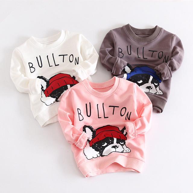 Primavera Outono Meninos Cães Hoodies Impressão Pullover T Camisa Crianças meninas Dos Desenhos Animados Meninos Pullover Camisola 3-7 Anos de Idade As Crianças Parte Superior ocasional