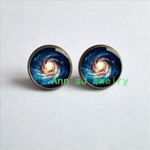 ES-00483 New-Galaxy-Nebula-earring-Outer-pierced earrings Space-Star-Magic-eardrops Cabochons-Glass-Jewelry-post-Personality