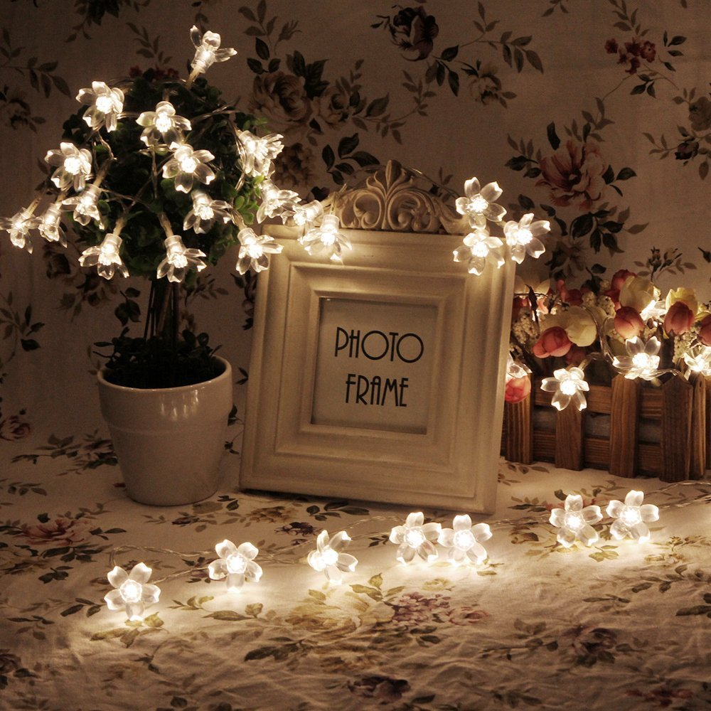 21ft 50 Led Solar String Lights Blossom Flower Fairy String Lights
