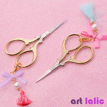 Nail-Scissor Cuticle-Cutter Stickers Manicure Gold-Plated with Bead Tassel Pendant