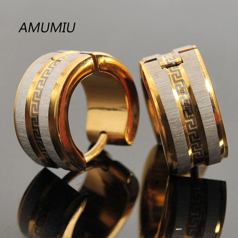 AMUMIU Fashion Accessories! Gold Color Stud earring For Women Men Jewellery Greek Key Wholesale Female Male Polished KE006