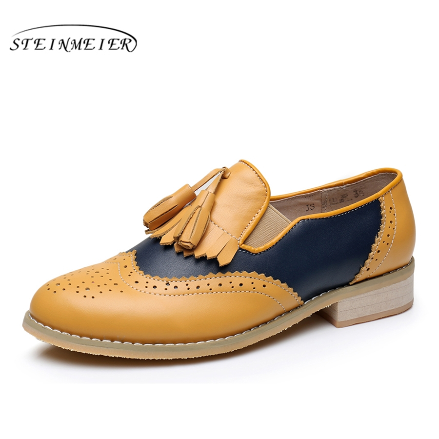 Genuine leather big woman us 10 tassel vintage flat Casual soft shoes round toe handmade yellow blue oxford shoes for women fur