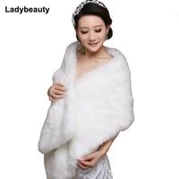 5015 New Elegant Long Hair Faux Fur Wedding Shawl Stoles Wraps Cape For Women Beige Free