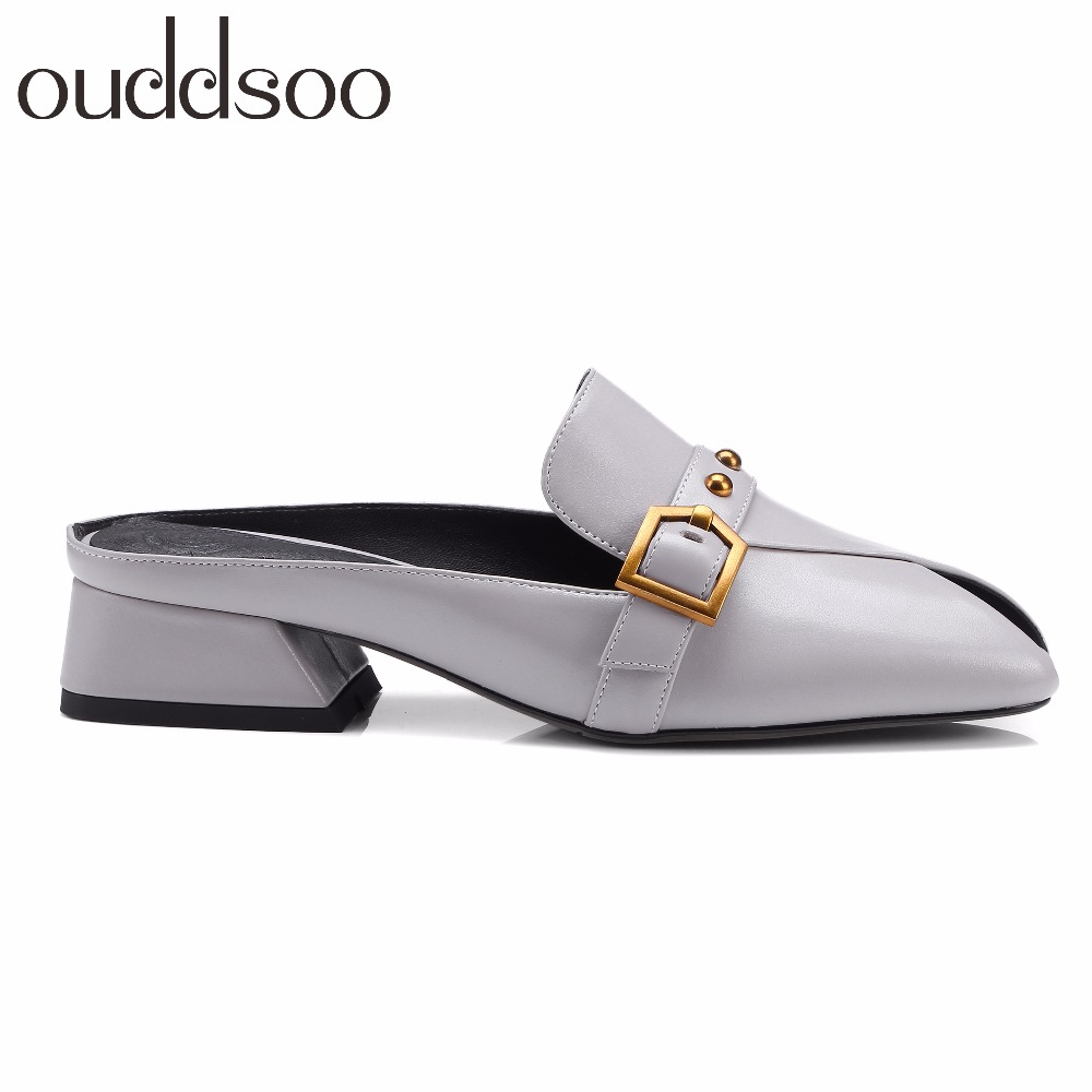 2018 Genuine Leather Women open Toe Slippers Mules Sandals Woman Leather Mujer Flip Flops Slides rivets solid outside Shoes 42 beyarne solid genuine leather women shoes summer sandals women slippers top quality flip flops slides flats sandals for woman