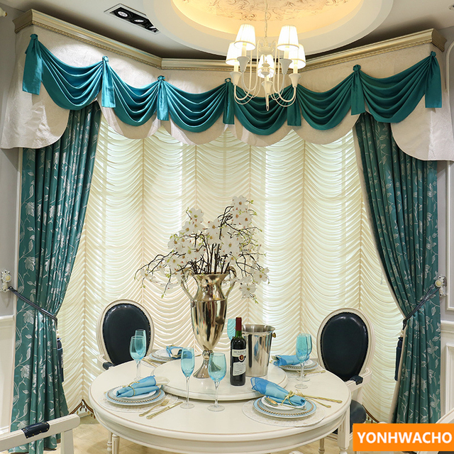 Custom Curtains Modern American Country Bedroom Study Balcony Window Blue Cloth Blackout Curtain Tulle Valance N617