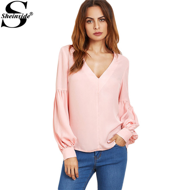 Sheinside Women Blouse Shirt Loose Style Fashion Blouses Women Top for Women Pink V Neck Bishop Sleeve Top Blouse