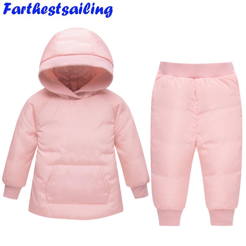 2018 Children Winter Suits Boys Duck Down Jacket + Pants Clothing Set Kids Warm Thicker Coat Snow Wear Parka Baby Girl Clothes цена