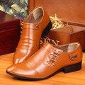 Мужчины острым носом кожаные ботинки мужчины Британский бизнес обувь повседневная мужская мода офис оксфорды zapatos sapatos платье костюм летом