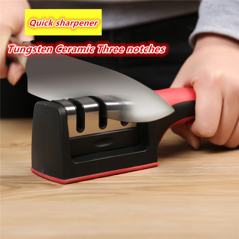 Dropshipping Knife Sharpener Quick Sharpener Professional 3 trin Sharpener Knife Grinder Non-Slip Silicone Gummi