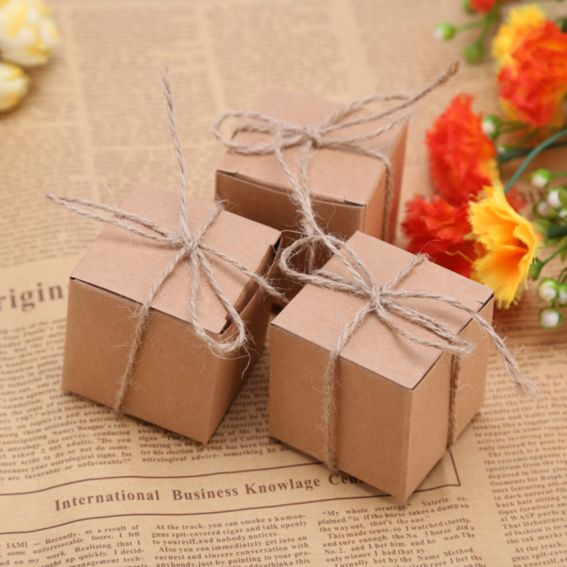 50pcs Gift Box Rustic Wedding Decoration Baby Shower Candy Packaging Cartons Chocolate Party Gifts