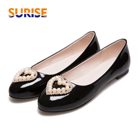 Plus Big Size Casual Women Flats Low Heel Ballet Patent Leather Heart Rhinstone Pearl Spring Summer