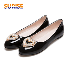 Casual Women Flats Low Heel Ballet Patent Leather Heart Rhinstone Pearl Spring Summer Autumn Office Sweet Red Boat Ladies Shoes