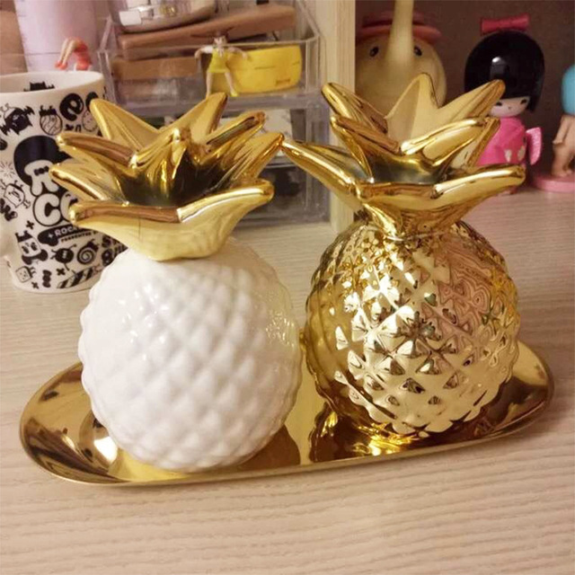 European Foreign Trade Piggy Piggy Bank Golden Pineapple Ceramic Home Furnishing Lovely Creative Landscape Flowers Ornaments