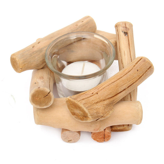 Driftwood Green Box Candlesticks Candle Holders Christmas Decorations For Home Multi-Purpose Ware Creativity Wooden Crafts Gifts
