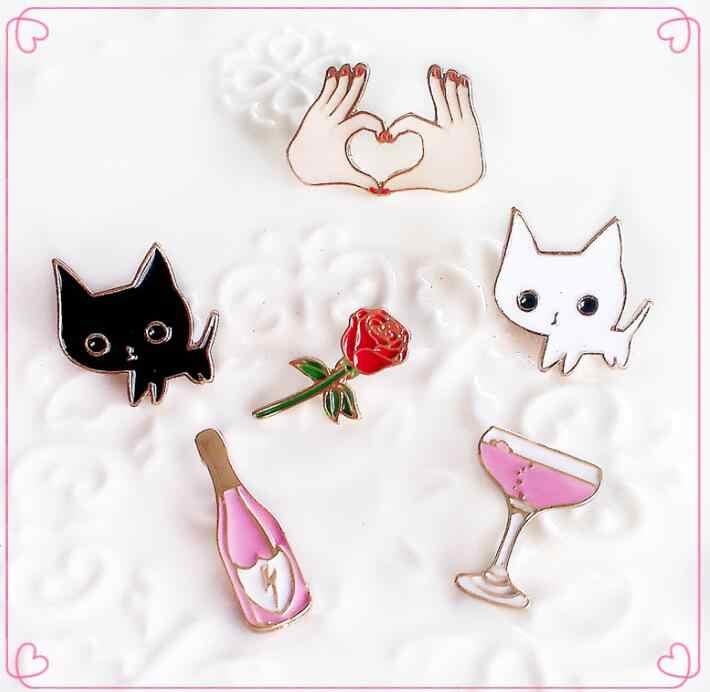 Oly2u Indah Hewan Kartun Kucing Kitty Cocktail Anggur Bunga Mawar Tangan Lucu Logam Vintage Bros Pins Wanita BP051-056