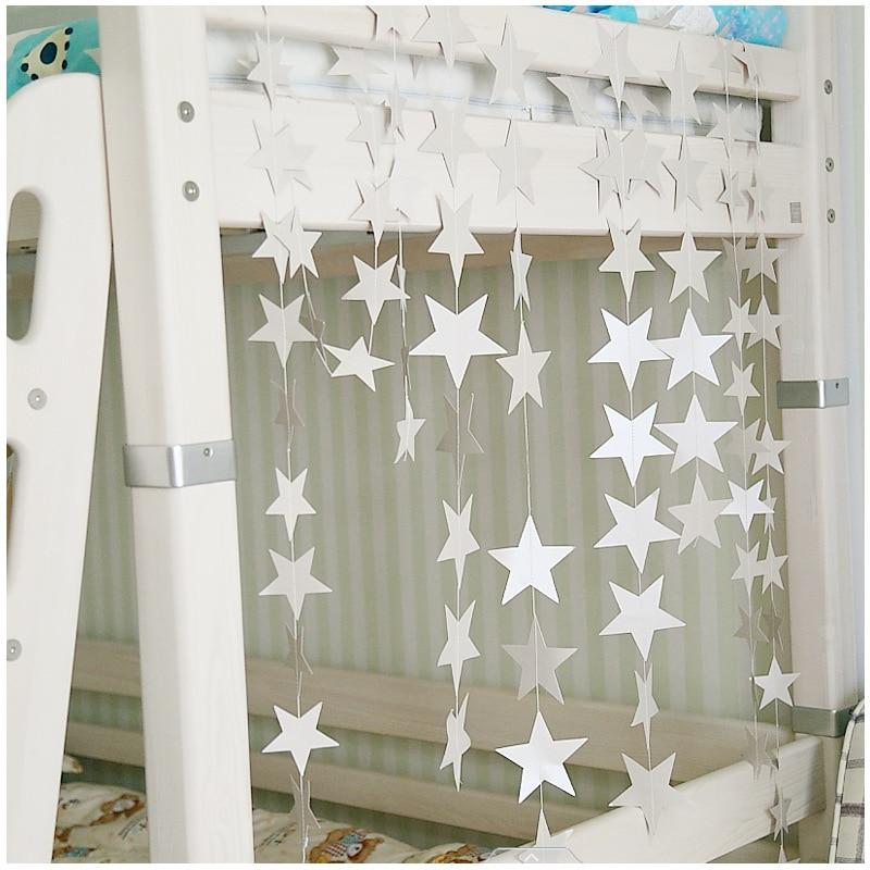 Wall Hanging Paper Star Garlands 4m Long Birthday String Chain Wedding Party Banner Handmade Children Room Door Home Decoration