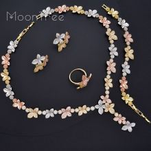 MoonTree Luxury Delicate Flower Full AAA Cubic Zirconia 3 Tone Copper Women Wedding Bridal Necklace Bracelet Earring Ring Set