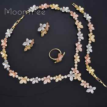 MoonTree Luxury Delicate Flower Full AAA Cubic Zirconia 3 Tone Copper Women Wedding Bridal Necklace Bracelet Earring Ring Set - DISCOUNT ITEM  18% OFF All Category