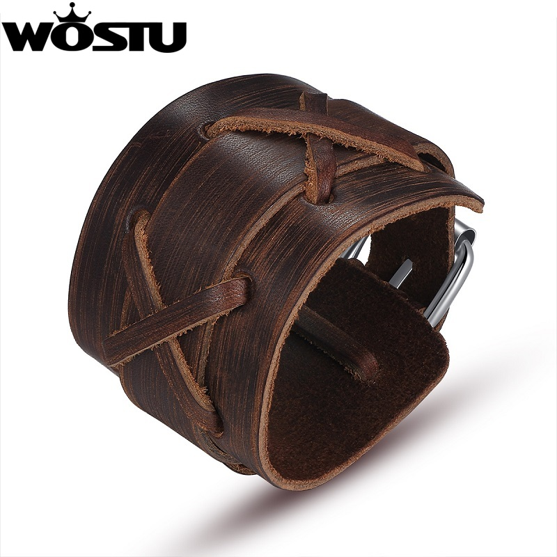 100% cuero genuino Wrap Vintage Brown pulsera y brazaletes Cuff doble - Bisutería - foto 1