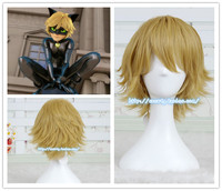 Miraculous Ladybug Chat Noir Golden Wig Cosplay Hair Halloween Role Play
