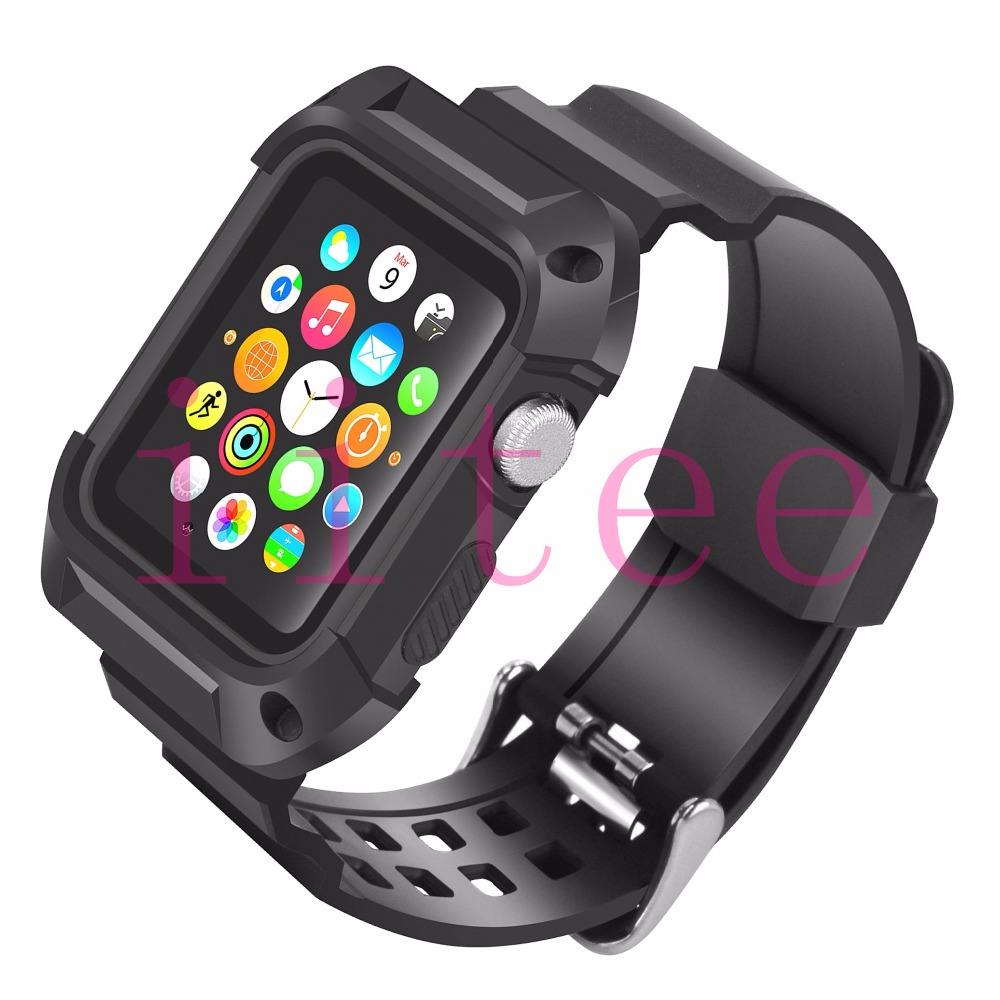 купить iitee Shockproof Rugged Protective Case with Black Band Straps for Apple Watch 42mm Series 2 Series 1 without Screen Protector недорого