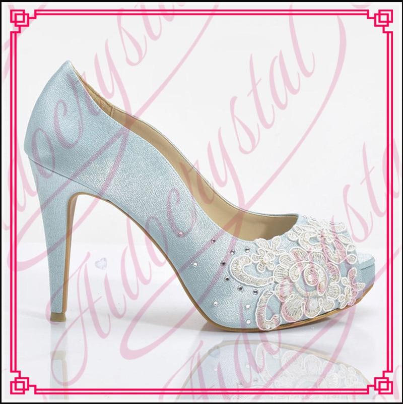 Aidocrystal Fashion blue open peep toe platform font b women s b font shoes noble wedding