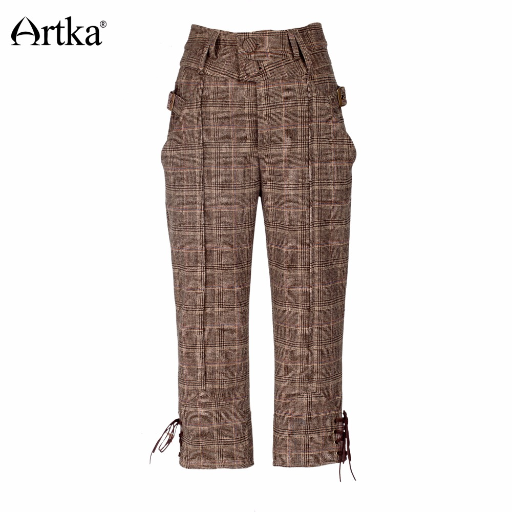 ARTKA Women 39 s Classic Trousers 2018 Autumn amp Winter Calf Length Pants Women Knight Causal Breeches Plaid Vintage Pants KA10270Q in Pants amp Capris from Women 39 s Clothing