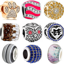 Maxi Colorful DIY Beads Big Smile Bear House Shoe Owl Crystal Beads Charms Fit Pandora Bracelets & Bangles for Women Accessories(China)