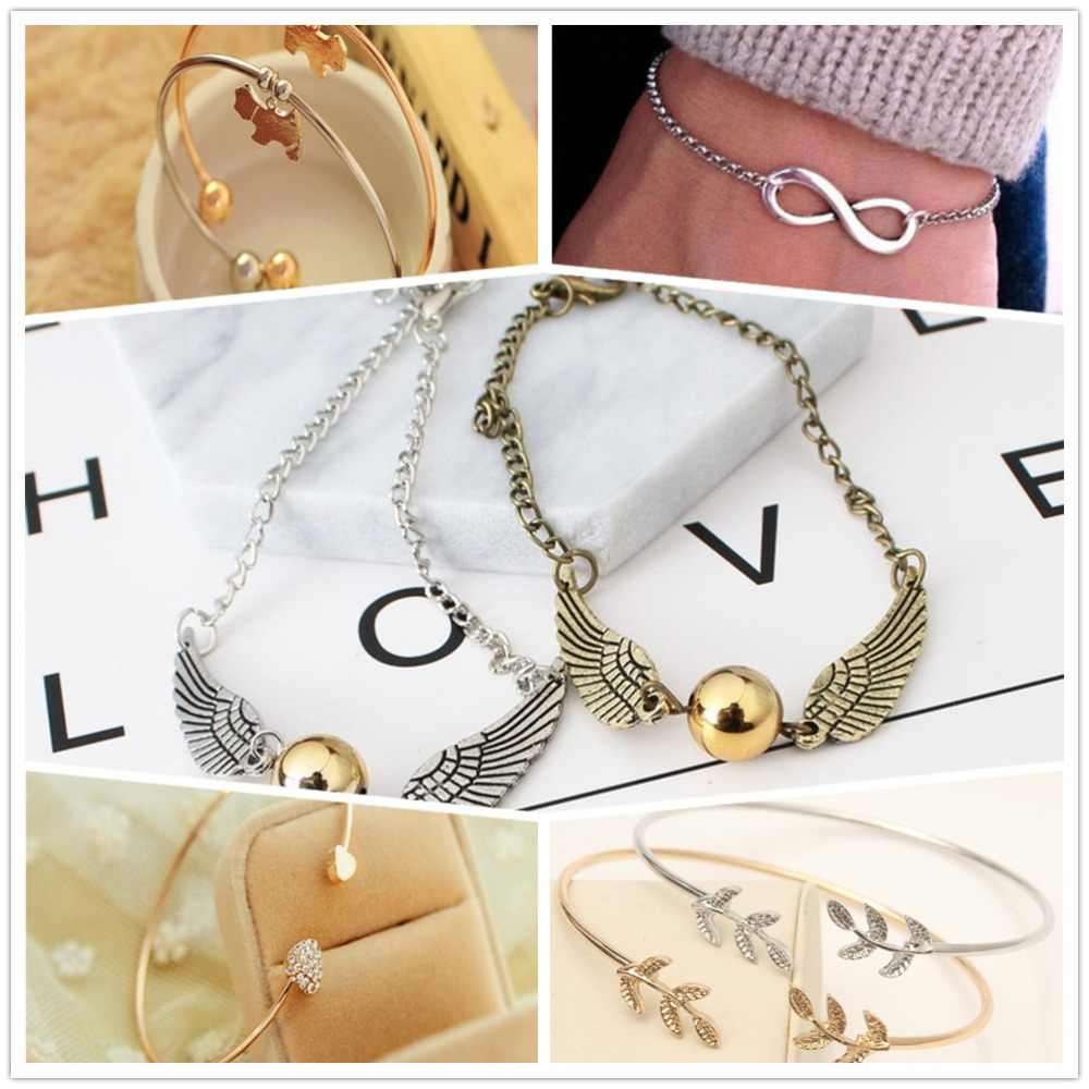 2019 Hot New Fashion Adjustable Crystal Double Heart Bow Cuff Opening Bracelet For Women Jewelry Gift