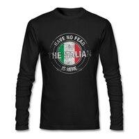 Ont Pas Peur Des Italien Est Ici T Shirt Personnalisé Longue manches Vêtements Nouveau Style Partie Coton Ras Du Cou Italie Drapeau Hommes T-shirt