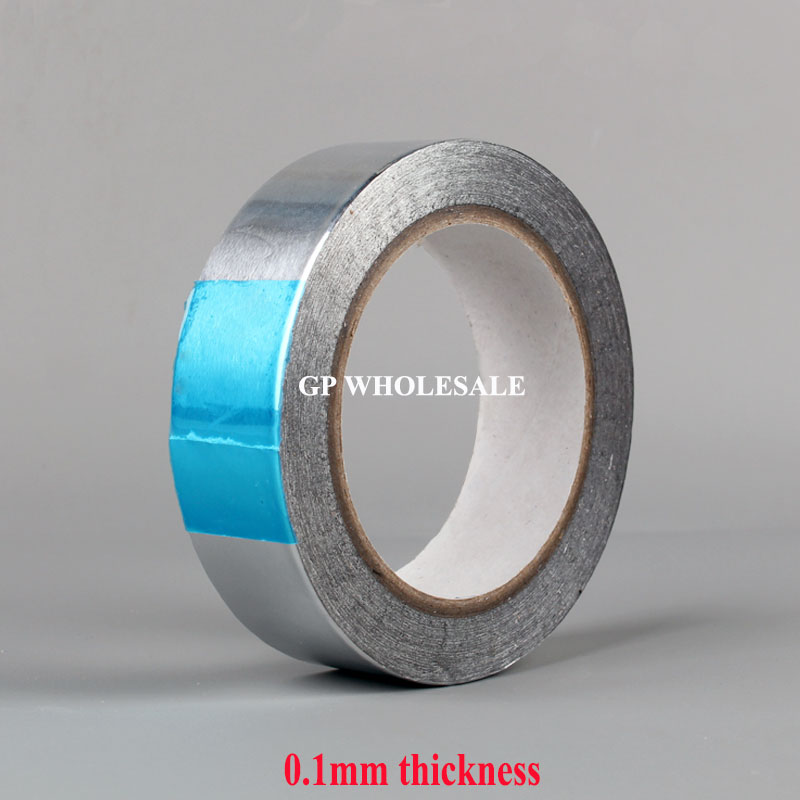 0.1mm thickness 50mm One Side Heat Transfer Waterproof Aluminum Foil Sticky Tape fit for Kitchen, Refrigerator, Pipe Wrap 0 14mm thick 60mm 25m one face heat transfer waterproof aluminum foil sticky tape fit for fix kitchen