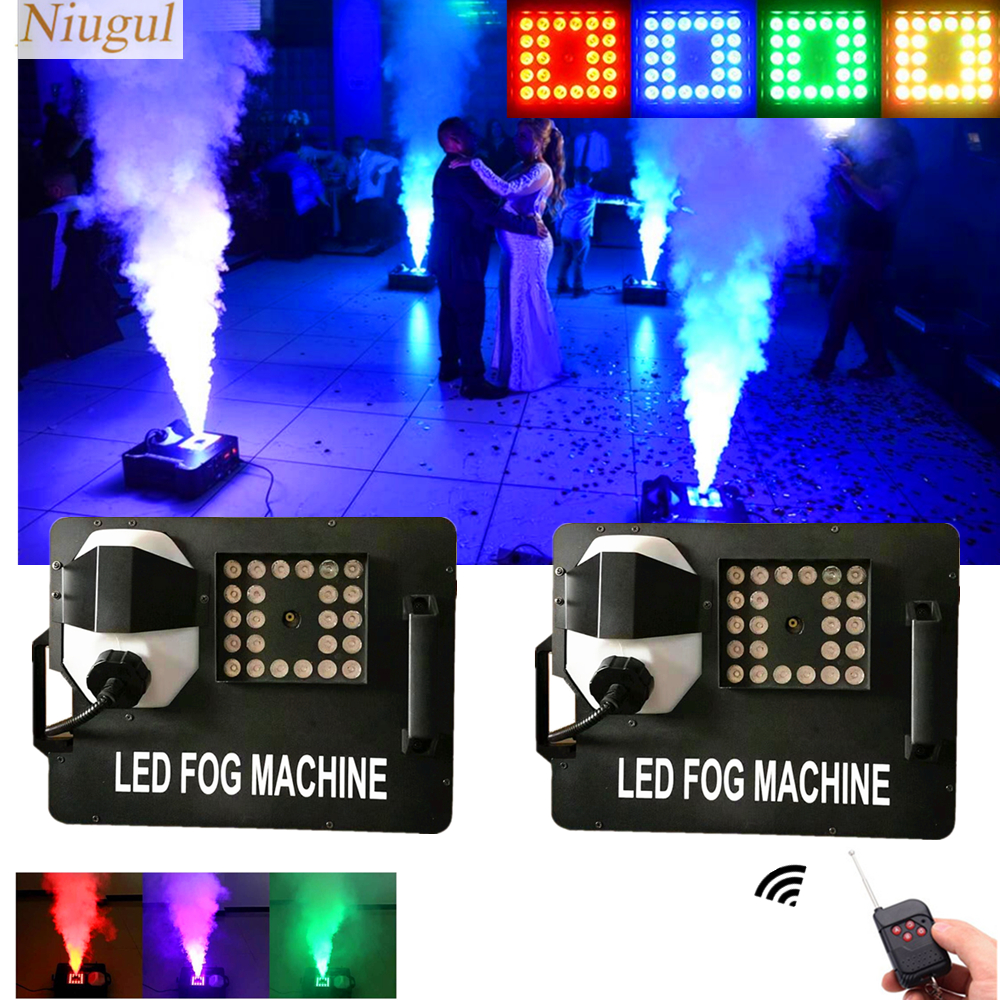 2pcs/lot 1500W Fog Machine With RGB 3IN1 LED Lights/DMX512 Vertical LED Smoke Machine/Wireless Remote Control Stage LED Fogger