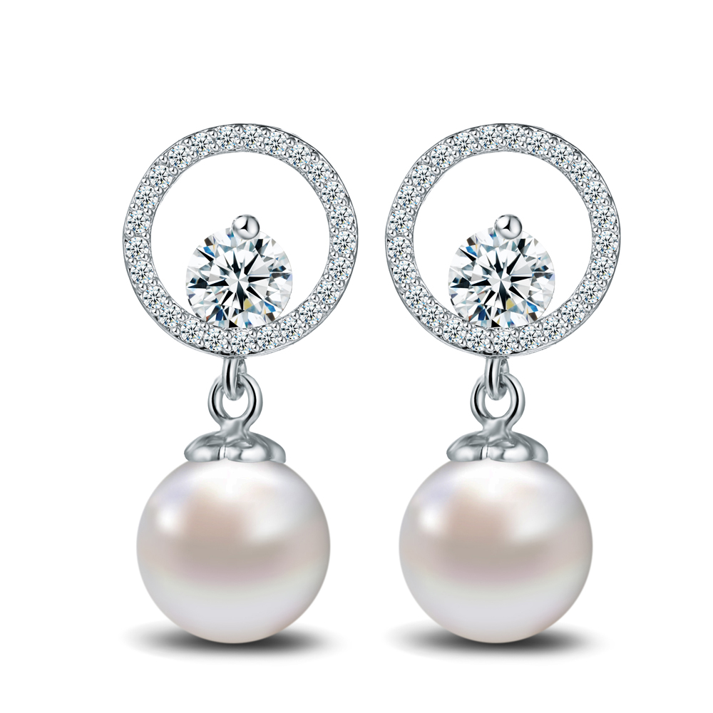 Designer Elegant Simulated Pearl Earrings White Gold Color Round Cz Crystal Chandelier Earring For Women Gift In Drop From Jewelry Accessories On