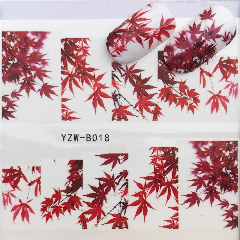 YWK 31 Estilos Red Maple Leaf/Flores/Animais Nail Art Transferência de Água Etiqueta Decalques DIY Dicas