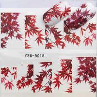 YWK 31 estilos hoja de arce rojo/flores/animales arte de uñas pegatinas de transferencia de agua
