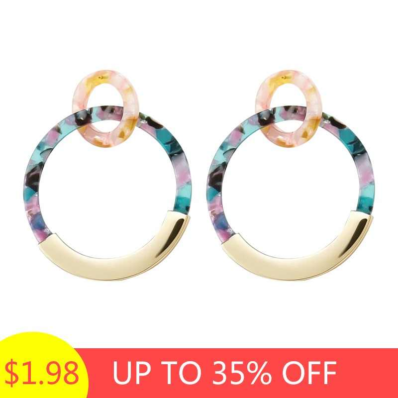 ZA 2019 Bohemia Colorful Acrylic Drop Earring For Women Vintage Resin Circle Statement Dangle Earring Female jewelry Brincos