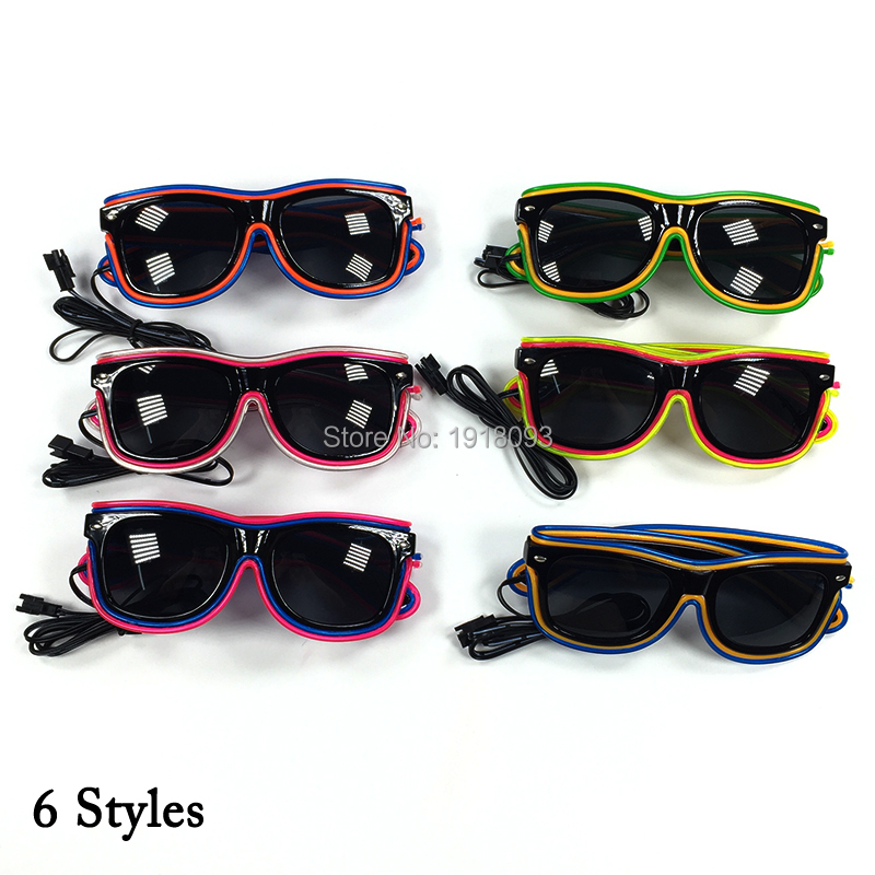 With dark lens EL Wire Glowing Glasses 10 Flashing Props Double Color 10pieces Neon Cold Light Holiday Lighting Glasses
