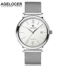 Agelocer Marca AAA de Calidad Superior Personalizada Reloj de Pulsera Pantalla Analógica Fecha de Acero Negro de Los Hombres de Negocios Del Reloj Relogio masculino