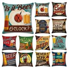 Cartoon Anime Letter Cushion Cover Set British Retro Beer Bottle Printing Linen Pillowcase Car Sofa Bar Farmhouse Home Decor
