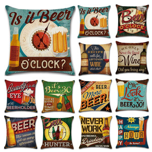 Image 1 - Cartoon Anime Letter Cushion Cover Set British Retro Beer Bottle Printing Linen Pillowcase Car Sofa Bar Farmhouse Home Decor