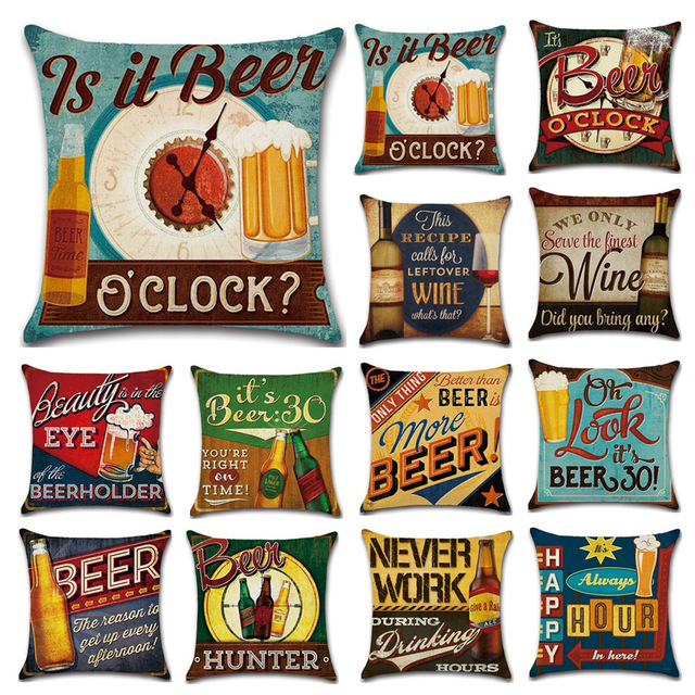 Cartoon Anime Letter Cushion Cover Set British Retro Beer Bottle Printing Linen Pillowcase Car Sofa Bar Farmhouse Home Decor