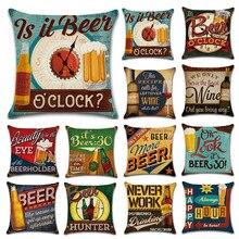 Conjunto funda de almohada con estampado de dibujos animados, Retro británico, botella de cerveza, lino, funda de almohada, sofá, Bar, casa de campo, decoración del hogar