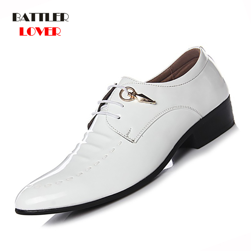 Men Patent Leather Oxfords High Quality Genuine Leather Shoes Classic Brogue Mens Formal Shoe Casual Bullock Dress Wedding Shoes