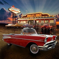 50's diner restaurant old vintage car clouds backgrounds Vinyl cloth High quality Computer print party backdrop