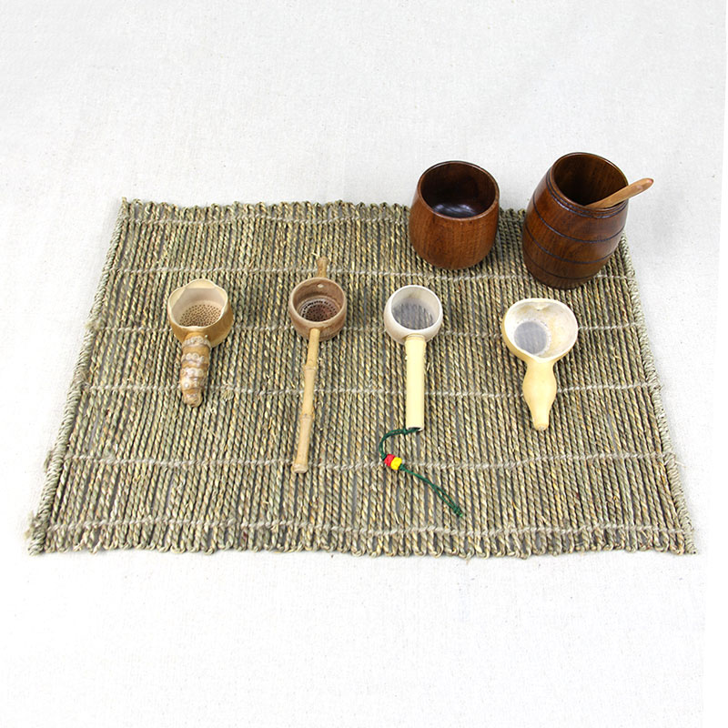 48x34cm hemp rope Weave placemats rectangle Handmade Cup Mat vintage For Kungfu Tea Set Coasters Home