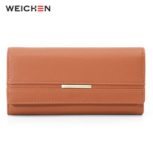 все цены на WEICHEN Women Wallets independent Card Holder Ladies Purse Cell Phone Pocket Long Clutch Wallet Female Purse Larger Capacity NEW онлайн