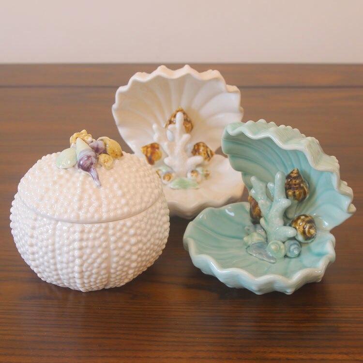 Pot de stockage créatif européen méditerranéen coquillages coquille bijoux collection boîte produits de décoration en céramique