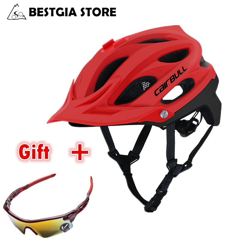 Men Bicycle Helmet with Goggles Riding Road MTB Bike Cycling Helmet Lens Safety