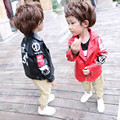 DFXD New Arrival 2017 Baby Boys Leather Jackets Fashion Spring Faux Fur Coats Letter Print Single-Breasted Boys Outwear 18M-6T